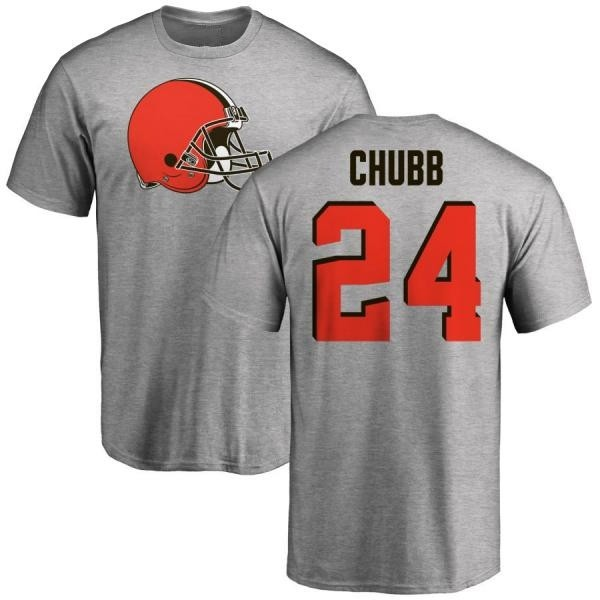 Cleveland Browns Nick Chubb Men's Name & Number Logo T-Shirt - Ash