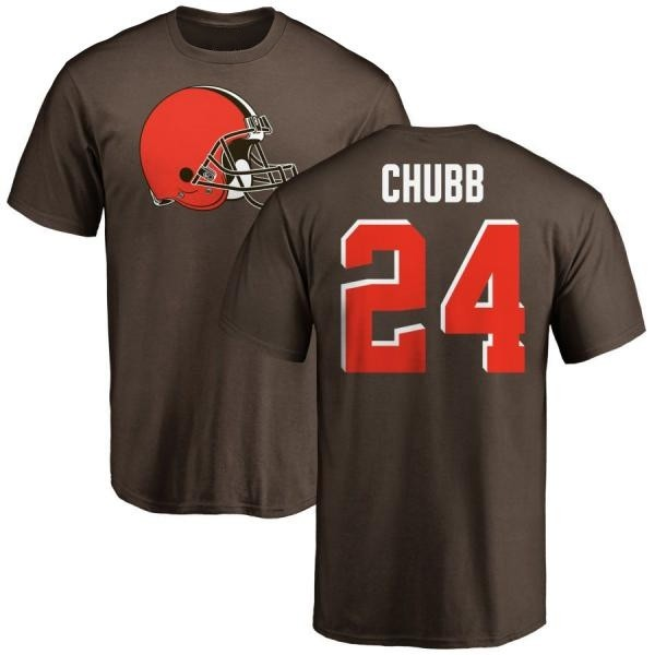 Cleveland Browns Nick Chubb Men's Name & Number Logo T-Shirt - Brown