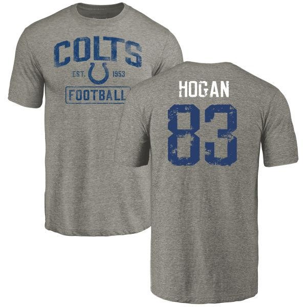 Indianapolis Colts Krishawn Hogan Men's Gray Distressed Name & Number Tri-Blend T-Shirt