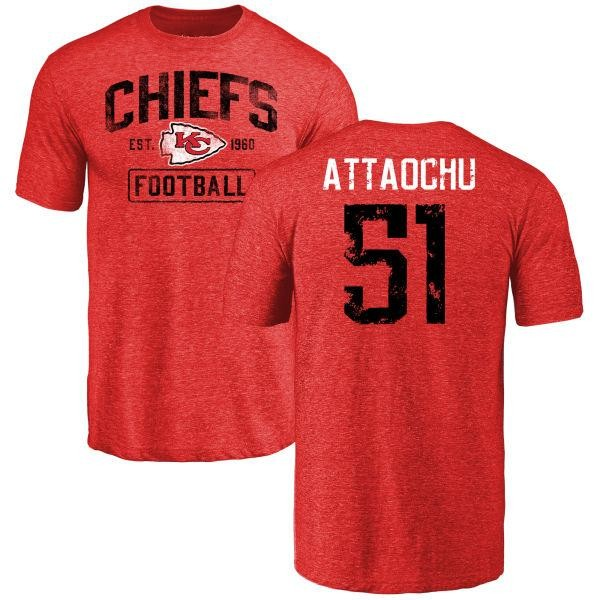 Kansas City Chiefs Jeremiah Attaochu Youth Red Distressed Name & Number Tri-Blend T-Shirt